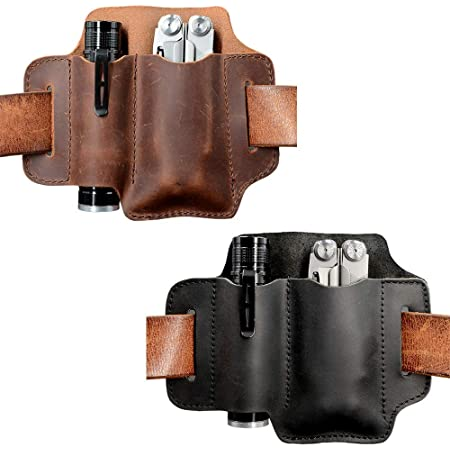 Black Depring Leather Tool Sheath Two Pockets Multitools Holder Holster EDC Essentials Organizer Belt Pouch
