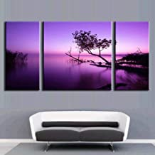 3 Pcs/Set Abstract Oil Painting Modern Canvas Wall Art Picture Combined Paintings Purple Lake With FrameCanvas Painting,as the pictures,14x28x2 and 24x28x1