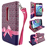 HTC Desire 610 Case (AT&T), Customerfirst, Fold Style PU Leather Flip Design Wallet Pouch Credit Card Book Fold Case - With Key chain (Cheetah Paws)