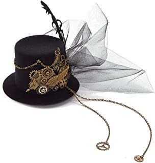 Women Steampunk Mini Top Hat Hair Clip Punk Gear Wings Clock Butterfly Hair Accessories