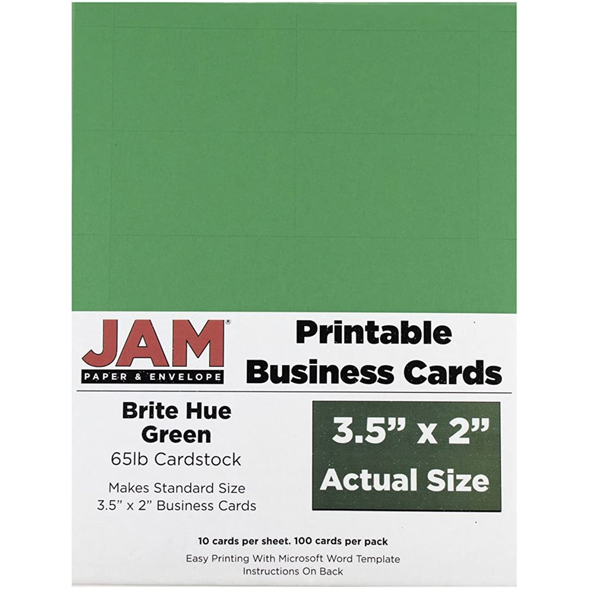 JAM PAPER Printable Business Cards - 3 1/2 x 2 - Brite Hue Green - 100/Pack
