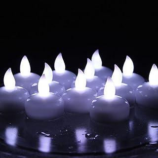 水センサー LEDティーライト キャンドル 水に浮かぶ時に自動点灯 フローティングライト 12個セット 直径3.8cm プラスチック製 クリスマス パーティー ウェディング 誕生日 飾り (ホワイト)