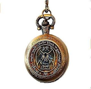 HE PING Cthulhu R'Lyeh Sigil orologio da tasca collana ispirato Lovecraft orologio da tasca collana in vetro cabochon orol...
