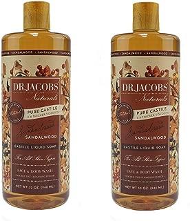 Dr. Jacobs Naturals Pure Castile Liquid Soap Face and Body Wash - 32 Oz 2 Pack (Sandalwood)