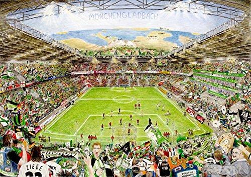 lepouse Art Print Poster Die Fans und ihre Begeisterung für Fußball aus Mönchengladbach. Kunstdruck aus dem Borussia Park   Fußballstadion Porträt Wanddekoration für Wohnzimmer oder Büro   80x60 cm