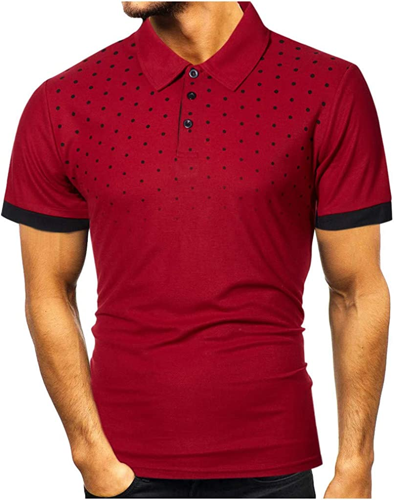 Mens Polo Shirts, ZSBAYU Fashion Slim Men's Casual Short Sleeve Patchwork T Shirt Personality Top Blouse