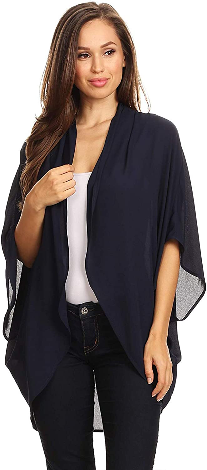 Women's Solid Floral Print Casual Comfy Kimono Sleeve Open Front Cardigan Capes Plussize