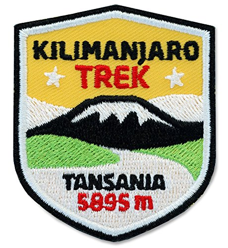 Club of Heroes 2 x Abzeichen gestickt 51 x 60 mm/Kilimanjaro Trek Tansania Afrika/Applikation Aufnäher Aufbügler Bügelbild Patch/für Kleidung Rucksack/Reise Wandern Klettern Tour Karte Kompass