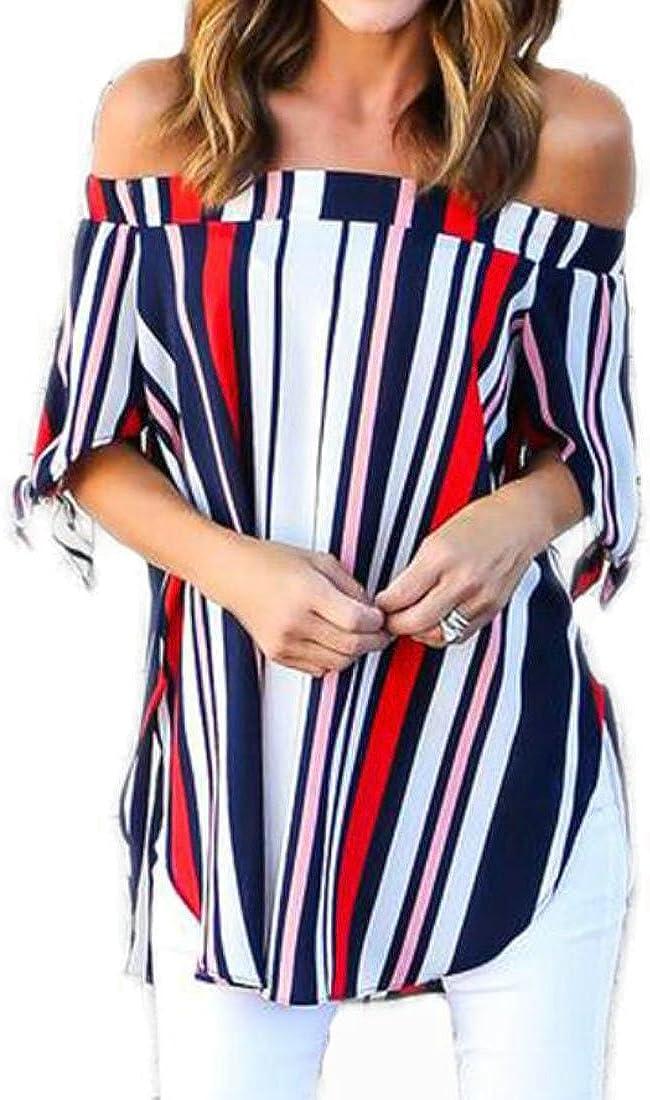Hmarkt Womens Fashion Half Sleeve Off Shoulder Stripes Top Blouse T-Shirt