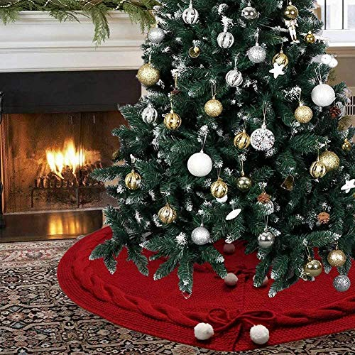 Trustmade 48 Inch Knitted Christmas Tree Skirt Dark Red Rustic Tree Mat with White Fur Ball for Pary Home Decor Xmas Burgundy
