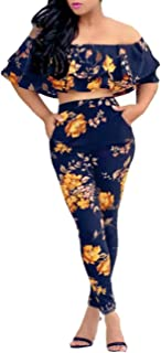 Women's Floral Print Sleeveless Strap Top Casual Bodycon Stretch High Waist Long Pants 2 Pieces Jumpsuit