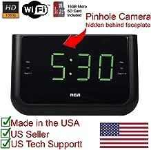 HD 1080P Wi-Fi Alarm Clock Radio Spy Camera Covert Hidden Nanny Camera Wireless IP Spy Gadget (Records to SD Card / 2.4GHz WI-FI)