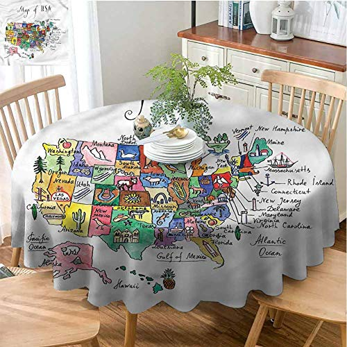 ScottDecor Patio Round Tablecloth USA Map,Symbolic Cultural Elements Wrinkle Free Tablecloths Diameter 54