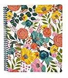 Steel Mill & Co Cute Floral Large Spiral Notebook College Ruled, 11' x 9.5' with Durable Hardcover and 160 Lined Pages, Garden Blooms (Cream)