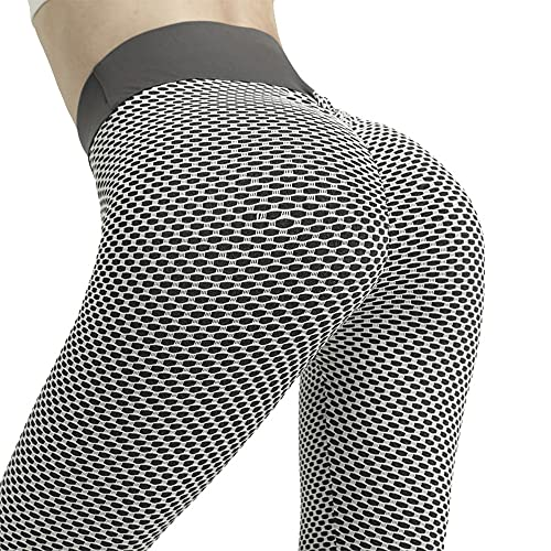 USFOO Leggings for Women Tummy Control High Waist TIK Tok Leggings Workout Sport Tight Yoga Pants Butt Lift Slimming Booty Grey