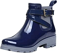 Aniywn Women's Waterproof Rain Boots Buckle Ankle Elastic Non-Slip Shoes Short Boots Platform Booties