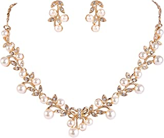 EVER FAITH Women's Simulated Pearl Vine Leaf Bowknot Necklace Earrings Set
