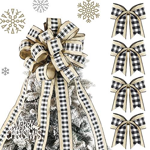 Lazo de Topper de Árbol de Navidad a Cuadros de Búfalo Extra Grande Lazo de Corona Granja Hecho a Mano de Cinta de Cable y 4 Mini Lazos de Arpillera Blancos Negros Lazo de Decoración Rústica