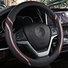 WAXCC Steering Wheel Covers Car steering wheel cover 38cm fashion wheel cover ladies leather steering wheel car interior accessories car steering sleeve,Brown,M
