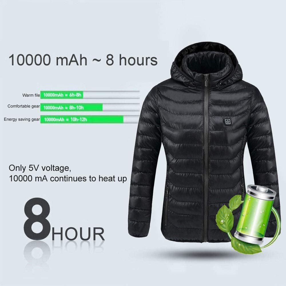 Hiking Motorcycle SONNIGPLUS Electric Jacket Heated Jackets Camping,Blue-XXXL for Outdoor Skiing Hunting Winter Warm Up Jacket USB Rechargeable Heated Clothes for Men
