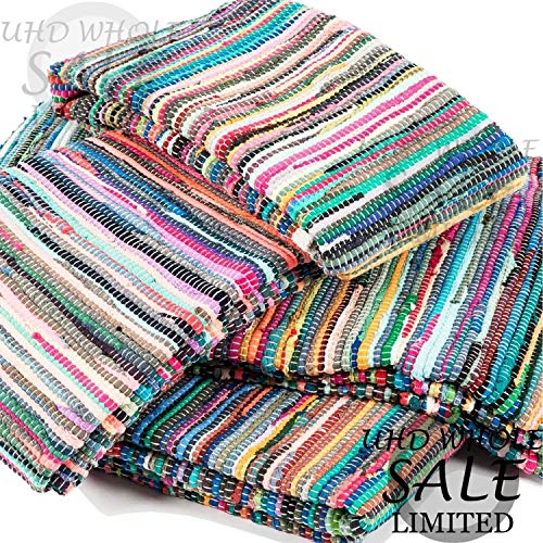 FB FunkyBuys Fair Trade Large Small Multi Coloured Fringed Chindi Rag Rug Mat Carpet Runner - Choose from over Various Sizes! (160 x 230 cm)