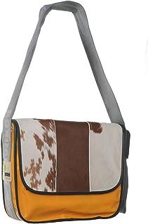 Provoked Messenger Bag BIG E3213- mit Kuhfell: braun & LKW-Plane: hellorange, 38x30cm