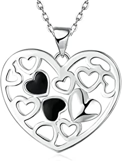 Epinki Silver Plated Necklace, Women's Hollow Heart Silver Pendant Charm Necklace for Girls