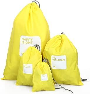 SODIAL Travel bag-Set 4 Bag purse Waterproof Drawstring Nylon Bag Yellow