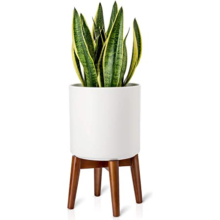 Mkono Plant Stand Mid-Century Modern Plant Stand Indoor (Plant and Pot NOT Included) Flower Pot Holder Home Decor, Brown