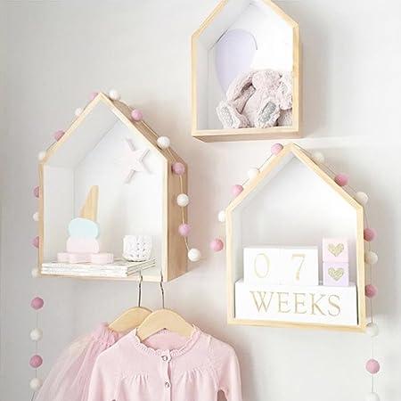 Pueri - Estantería de madera para colgar en la pared, silueta de casa, para decorar una habitación infantil