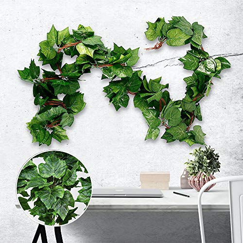 harupink 5Pcs Artificial Grapes Vine 2.2M Fake Leaves Hanging Vine Greenery Ivy Garland for Home Garden Wedding Party Wall Decoration