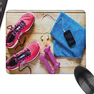 Mini Mouse Pad Fitness Gymnasium Theme Womens Running Shoes and Dumbbells Equipment for Training Image for Gamer, Office Working,15.7