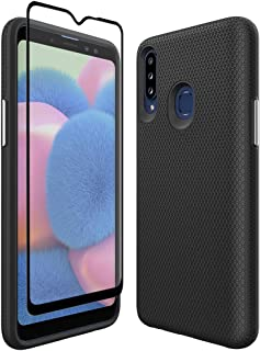 Thinkart Galaxy A20S Case with Tempered Glass Screen Protector,Anti-Slip Non-Slip Texture Protection Hard Cover for Samsung Galaxy A20S Phone (Black)