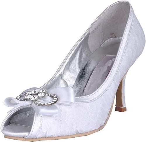 ZHRUI Femmes MZ565 Peep Toe à Talons Talons Talons Hauts Strass Mariée Chaussures De Satin De Sandale (Couleuré   blanc-9cm Heel, Taille   9 UK) 8e5