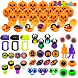 Halloween Party Favors Set, 24 Prefilled Pumpkin Boxes Including Vampire Teeth, Eyeballs, Spider Rings, Halloween Stamps, Tops, Yo-yos, Eye Rings, Toy Skeleton for Kids Trick or Treat, Party Favors, Halloween Gift Exchange, Carnival Game Prizes