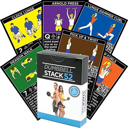 Stack 52 Dumbbell-Übung Karten Dumbbell-Trainings-Spielkarten-Spiel. Video-Anweisungen enthalten. Vervollkommnen Sie für Training mit justierbaren Hantel-freien Gewicht-Sätzen.