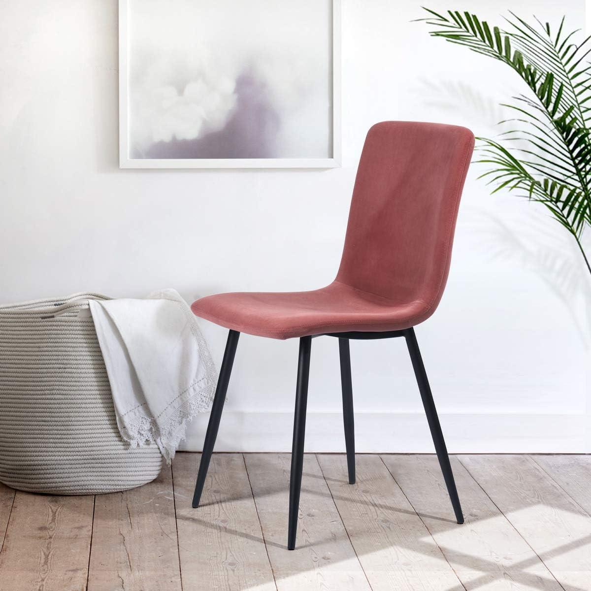 Lot de 4 chaises de salle à manger Scandinave style chaises Fabric Cushion Chaises de cuisine - Rose Rose