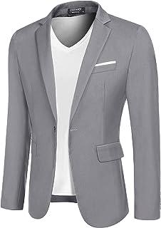 COOFANDY Men's Casual Sport Coats Slim Fit Blazer Jacket Lightweight One Button Suit Jacket, Light Gray, Large