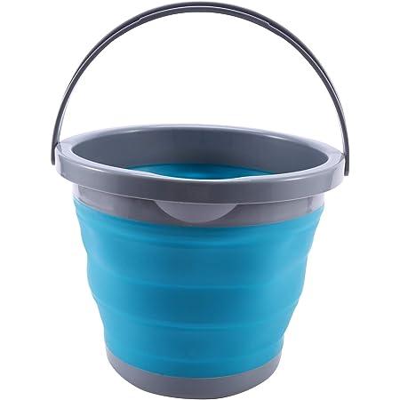 Liseng Seau pliable de 5 l avec couvercle - Portable - Pour le lavage de voiture - Pour la pêche, la salle de bain, la cuisine - En silicone - Pour l'extérieur et le camping