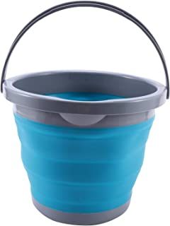 Liseng Seau pliable de 5 l avec couvercle - Portable - Pour le lavage de voiture - Pour la pêche, la salle de bain, la cui...