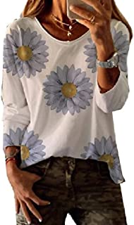 Loyomobak Womens Tee Print O-Neck Tops Long Sleeve Blouse T Shirts