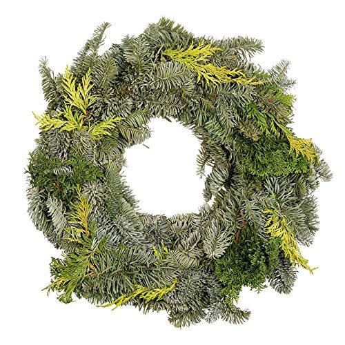Kölle Adventskranz frisch, echte Tannenzweige, Mixkranz grün, Weihnachten, ca. 30 cm Ø, halbrund gebunden von unseren Gärtnern