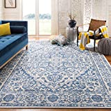 Safavieh Brentwood Collection BNT832M Medallion Distressed Area Rug, 9' x 12', Navy/Light Grey