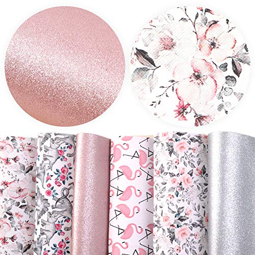 "David accessories Flamingo Floral Printed Faux Leather Fabric Sheets Vivid Pearl Light Solid Color 6 Pcs 7.7"" x 12.9"" (20 cm x 33 cm) for DIY Bows Earrings Making (Animal and Floral)"