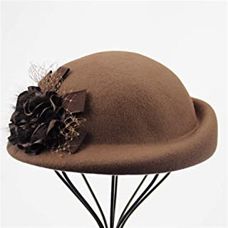KCBYSS 100% Wool Felt Berets Women Autumn and Winter Party Gauze Flower Formal Hat Banquet Grace Woolen Hats (Color : Camel)
