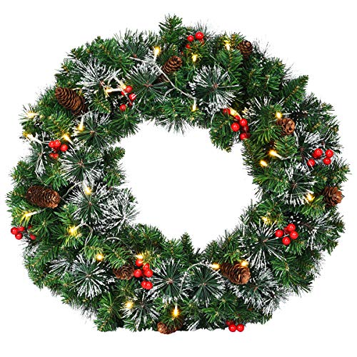 Goplus Pre-Lit Cordless Christmas Wreath, with 50 Warm LED Lights/ Silver Bristles/ Pine Cones/ Berries, Xmas Decor for Indoor and Outdoor