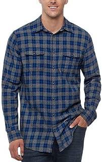 Mens Classic Fit Flannel Shirt Blue Charcoal Grey Plaid 2 Pockets
