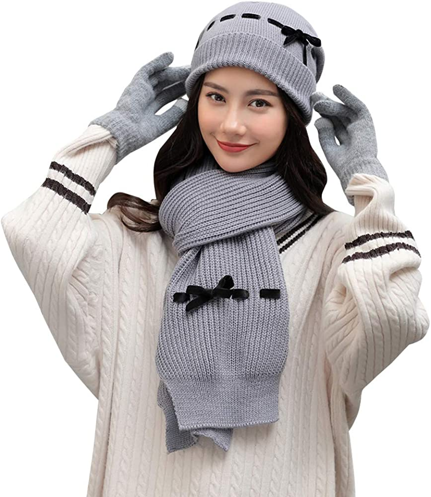 Womens Winter Warm Knit Beanie Hat Touchscreen Gloves 3 PCS Winter Set Knit Warm Winter Gift Set for Women Girls