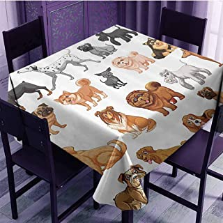 Oil-proof and leak-proof tablecloth Dog Lover Decor Collection Different Type of Dogs Small and Big Dalmatian Golden Fur Fluffy Faithful Creature Indoor and outdoor tablecloth W36