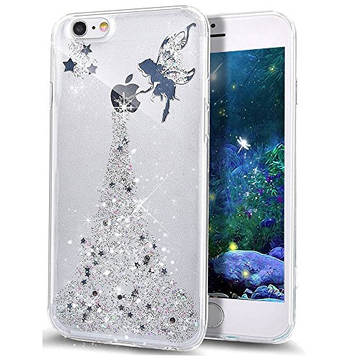 EMAXELERS Funda iPhone 8 Plus 5.5 Inch, Ligera Silicona Suave TPU Gel Bumper Cover de Protección Antideslizante [Anti-Rasguño] Caso para iPhone 8 Plus/iPhone 7 Plus 5.5 Inch,Silver Fairy Girl